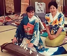 Jody studying in Japan with her koto Sensei
